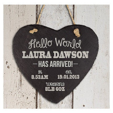 Personalised Hello World Slate Heart Keepsake