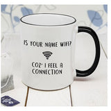 Personalised Is Your Name Wifi Black Rimmed Mug