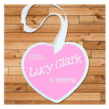Personalised Shhh Baby's Sleeping Heart Keepsake in Pink