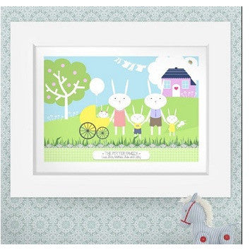 Bunny Rabbit Family personalised prints
