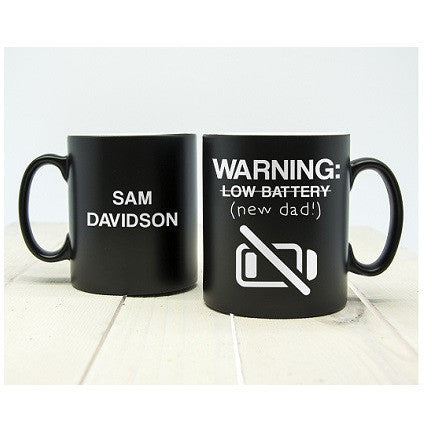 Warning: New Dad Black Matte Mug