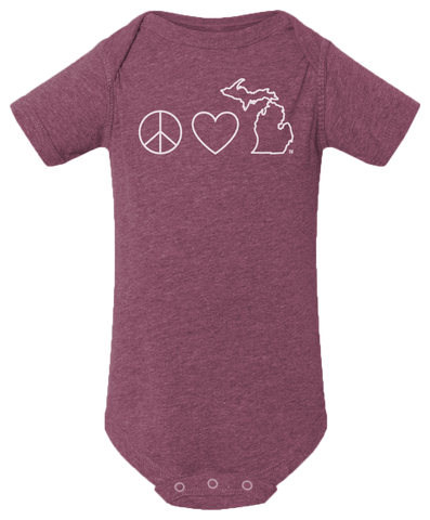 Peace Love Michigan Baby Onesie