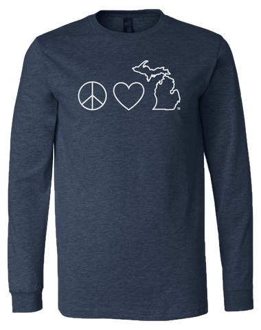 Peace Love Michigan Long Sleeve T-Shirt