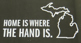 Home is Where the Hand Is White Vinyl Sticker (Pack of 10)