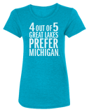 4 Out Of 5 Great Lakes Prefer Michigan Women's Scoopneck T