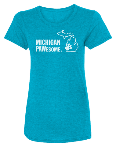 Michigan PAWesome Women's Scoopneck T