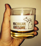 Michigan Awesome Rocks Glass