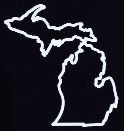 Michigan State Outline White Vinyl Sticker (Pack of 10)