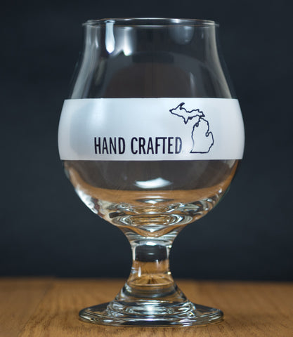 "Michigan Awesome ""Hand Crafted"" Tulip Glass"