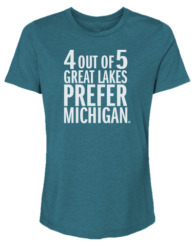 4 Out Of 5 Great Lakes Prefer Michigan Women's Relaxed Fit T