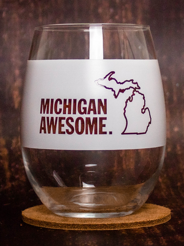 Michigan Awesome Stemless White Wine Glass