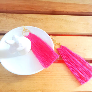 Hot Pink Double Hoop Statement Earrings