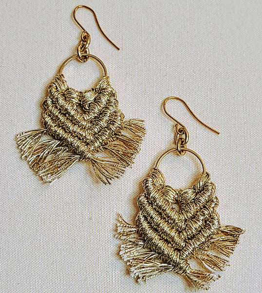 Chunky Gold Macrame Earrings