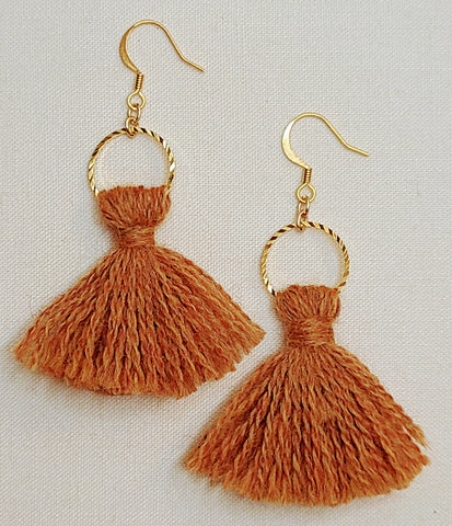 Burnt Orange Tassel Earrings