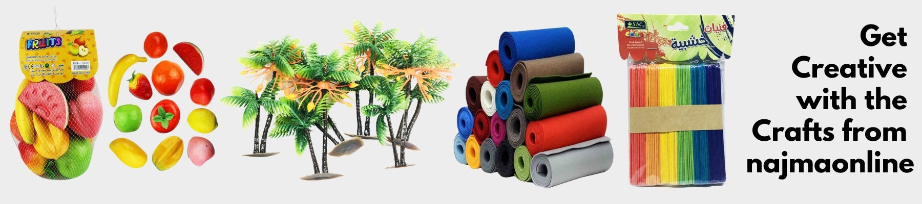 Crafts from najmaonline.com decorative tapes, popsicles, tailoring buds, needle, tailoring crafts and more | Fast Delivery in Abu dhabi, Dubai - UAE
