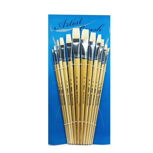 12 Shape Artist Wooden Handle Brushes -Set of 12