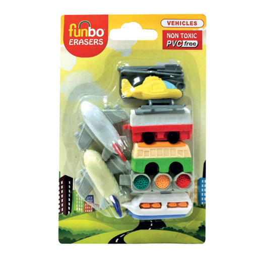 Funbo 3D Vehicle Shaped Eraser Set