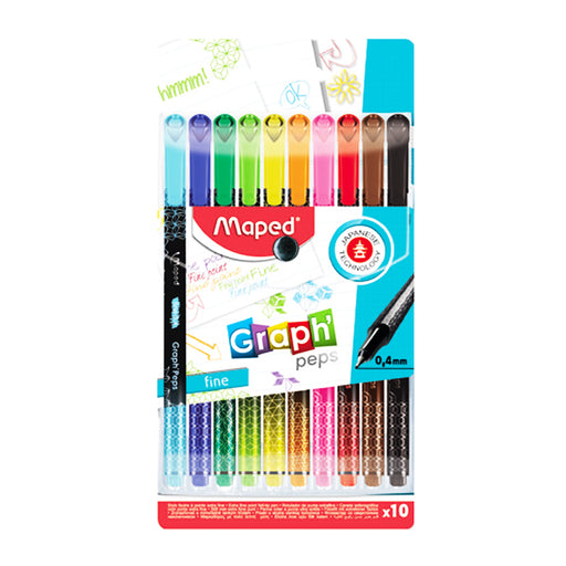 Maped Graph'Peps Deco -10 Bright Assorted Color Fine Tip Pens