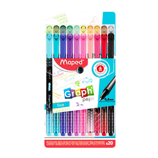 Maped Graph'Peps Deco -20 Bright Assorted Color Fine Tip Pens