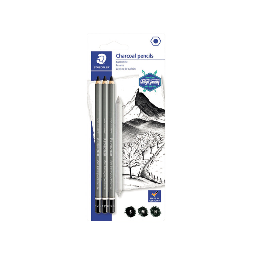 Staedtler Artist Charcoal Pencils - Pack of 3+1 Paper Stump