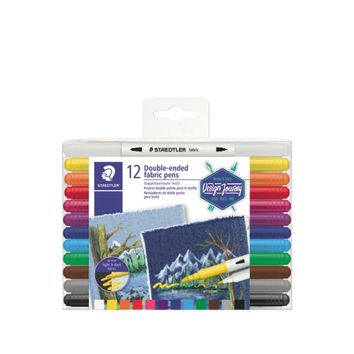 Staedtler Double-end Fibre Tip Textile Pen -12 Color Set