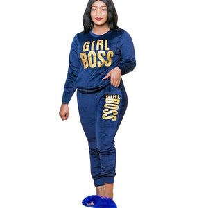CM.YAYA Plus Size XL-5XL Letter Print Velvet Women's Set Sweatshirt Top Jogger Pants Suit Tracksuit Two Piece Set Fitness Outfit