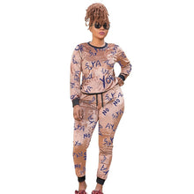 Load image into Gallery viewer, CM.YAYA Plus Size XL-5XL Letter Print Velvet Women's Set Sweatshirt Top Jogger Pants Suit Tracksuit Two Piece Set Fitness Outfit