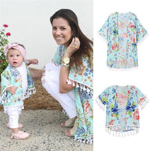 Load image into Gallery viewer, Mommy and Me Matching Floral Chiffon Shawl Kimono Cardigan