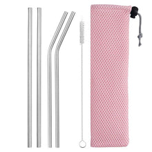 Load image into Gallery viewer, Drinking Straw Reusable Straws With Cleaner Brush Set High Quality Eco Friendly Stainless Steel Metal Straw for Mugs