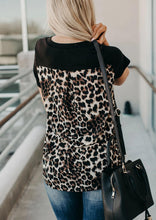 Load image into Gallery viewer, V-Neck T-Shirt Leopard Pocket Tee Women Summer Short Sleeve 2020 Fashion Leopard Back Tops Tee Summer New Loose Tee Shirt Female