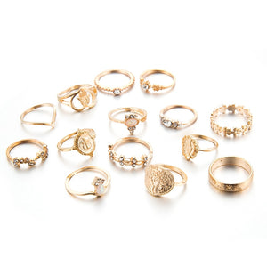 Virgin Mary Gold Ring Set