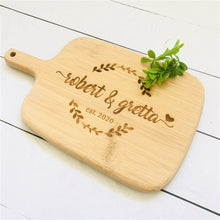 Load image into Gallery viewer, Personalized Cutting Board Wedding Kitchen Favors and Gifts Custom Engraved Cheese Board Chopping Board Bamboo Cutting board