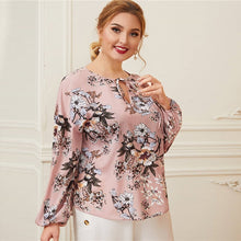 Load image into Gallery viewer, Pink Keyhole Tie Neck Lantern Sleeve Blouse