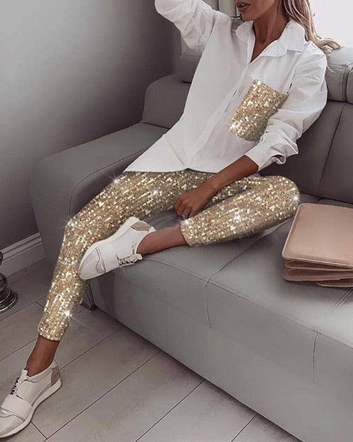Women Fashion Sequin Two Piece Set Long Sleeve Womens Tops And Blouses Femme Two Piece Outfits Elastic Waist Long Pants Sets