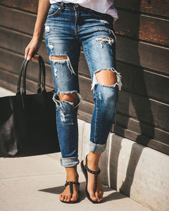Boyfriend Hole ripped jeans for women Pants Cool Denim Vintage skinny push up jeans High Waist Casual ladies Slim calca jeans
