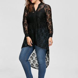 Long Sleeve Button Up Lace Shirt