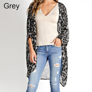 Celmia Summer Beach Leopard Printed Kimono Cardigan Women Cover Up Long Tops Blouse Loose Shirt Blusas Mujer Plus Size S-5XL