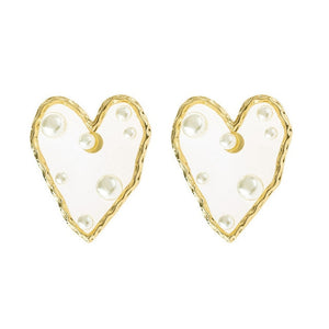 gold pearl heart earrings the lush lemon