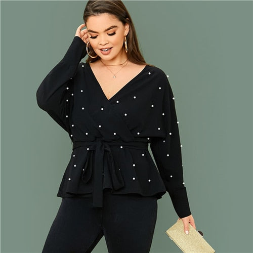 SHEIN Plus Size Black Surplice Neck Dolman Sleeve Pearls Beaded Belted Top Women Spring Solid Elegant Office Lady Peplum Blouses