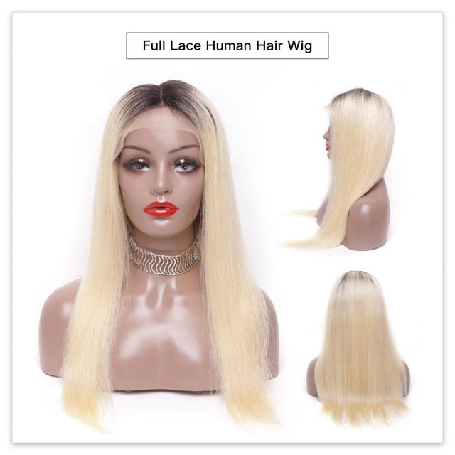 Full Lace Human Hair Wigs 8 - 28 Inch Long Brazilian Straight Remy 613 Blonde Ombre Color Glueless Full Lace Wigs with Baby Hair