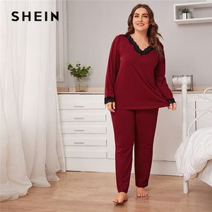 SHEIN Plus Size Burgundy Lace Trim Top and Pants PJ Set Women Spring Autumn Long Sleeve V-neck Casual Sleepwear Pajama Sets