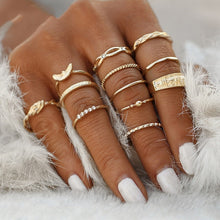 Load image into Gallery viewer, KSRA Boho Vintage Gold Star Knuckle Rings For Women BOHO Crystal Star Crescent Geometric Female Finger Rings Set Jewelry 2020