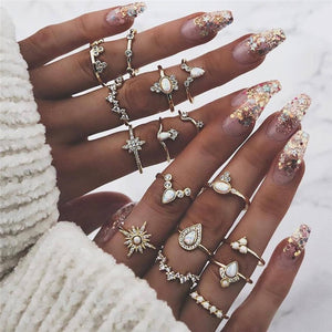 KSRA Boho Vintage Gold Star Knuckle Rings For Women BOHO Crystal Star Crescent Geometric Female Finger Rings Set Jewelry 2020