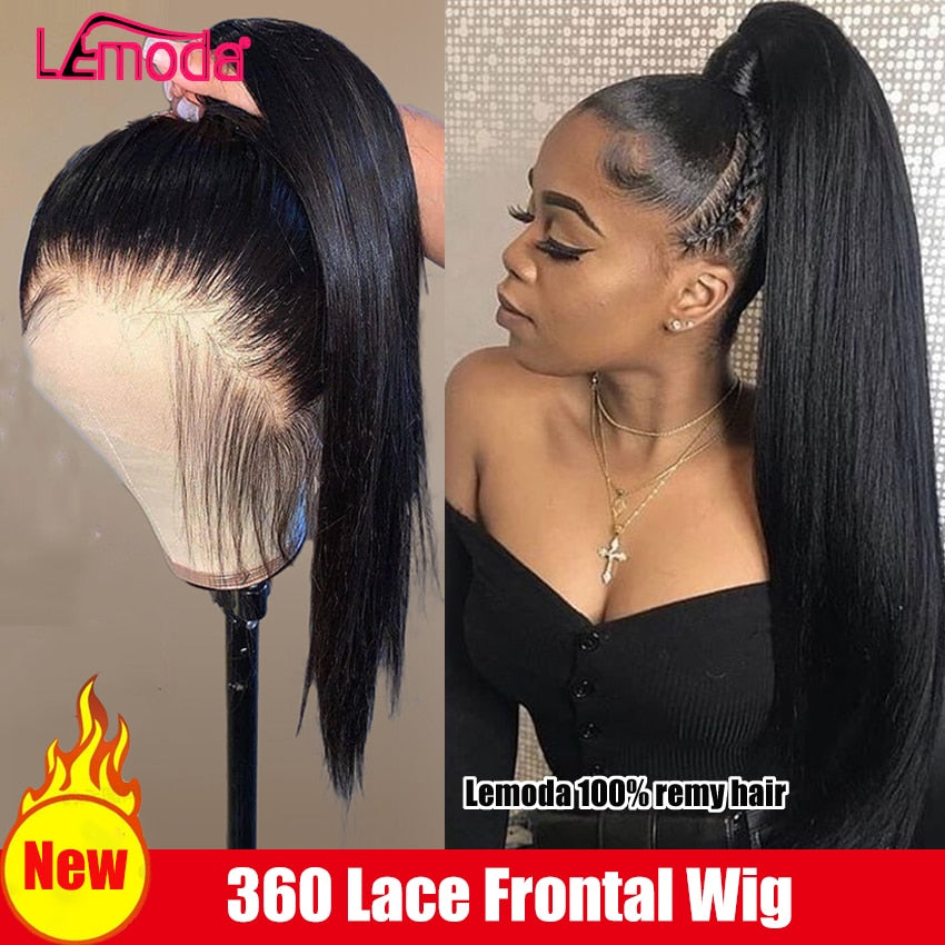 Peruvian 360 Full Lace Frontal Human Hair Wigs For Black Women HD Transparent Lace Lemoda Closure Wig Remy 13x6 Lace Front Wig