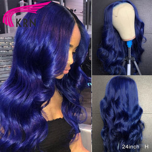 Blue 13*4 Lace Front Human Hair Wigs 180% Brazalian Wavy Remy Hair 360 Lace Frontal Wigs For Women Full Lace Wigs with Baby Hair