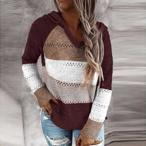 Patchwork V-Neck Hooded Top