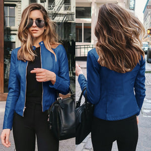 NEDEINS Autumn Jacket Women Coat Jacket PU Leather Outwear Fashion Short Coat Thin Female Jacket Coat 2020
