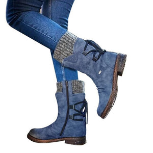 Winter Shoes Women Boots Basic Women Mid-Calf Boots Round Toe Zip Platform Decor Female Shoes Warm Lace Up Boots Shoes