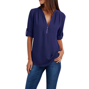 Sophisticated Zippered Blouse