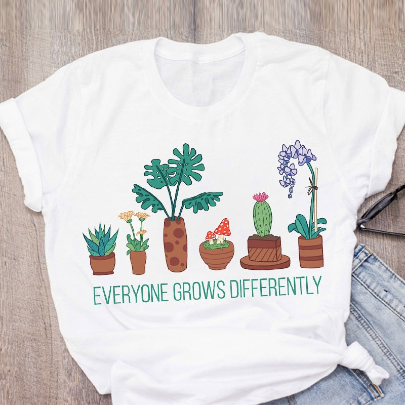 Women Graphic Cactus Plant Flower Printing Camisas Lady Print Summer Lady Tops T-Shirt Shirt Womens Clothing Tees Female T Shirt